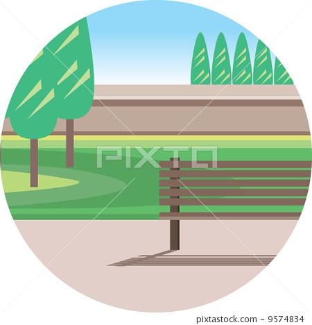 公园 长凳 方形