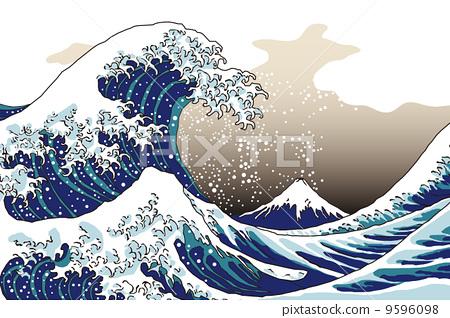 插图素材: 矢量 海浪 富士山