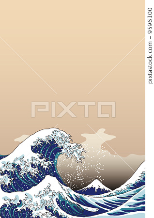 图库插图: 矢量 海浪 富士山
