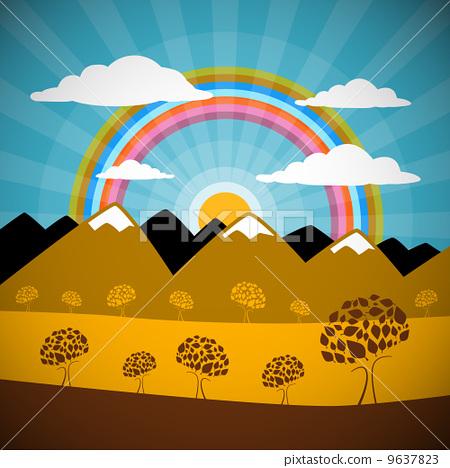 彩虹 矢量图 stock 插图