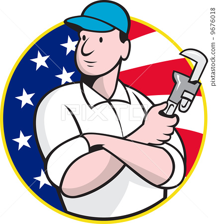 american plumber worker with adjustable wrench