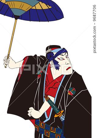 图库插图: 歌舞伎 矢量 浮世绘