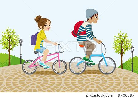 男女 骑自行车 自行车
