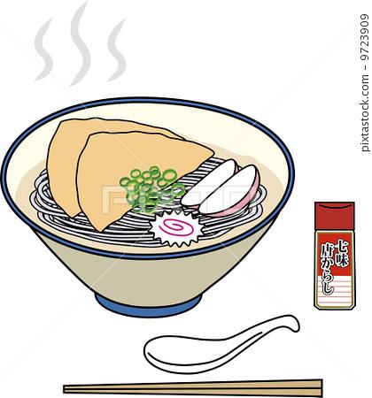 图库插图: 荞麦面 大葱 面条