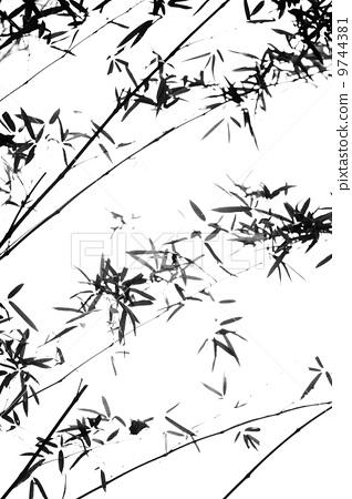 黑白木刻版画素材竹子