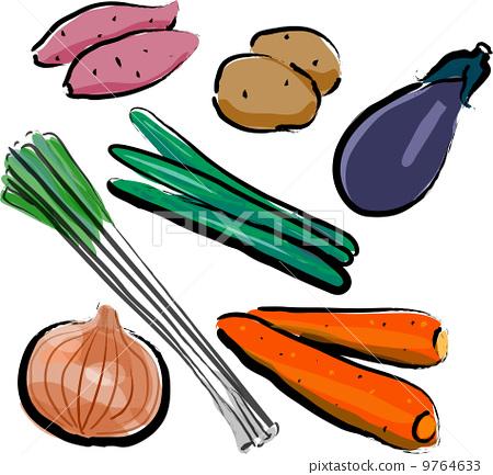 图库插图: 蔬菜 胡萝卜 大葱