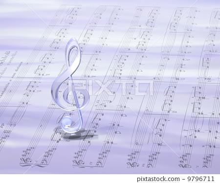 插图: 音符 g调号 高音谱号