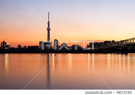 图库照片: 东京晚上风景天空树