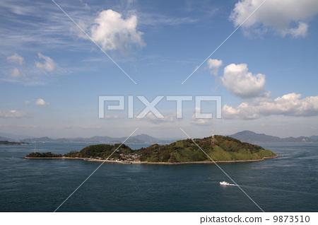 来岛海峡 小岛 蓝色的海洋