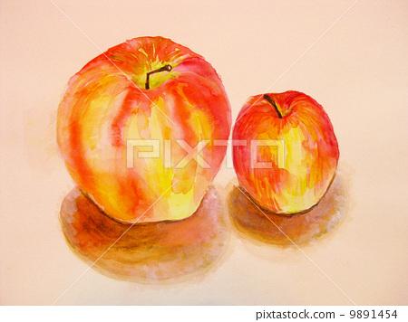 水彩水果苹果