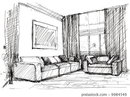 铅笔画素描现代房子
