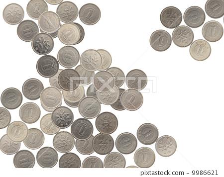 照片素材(图片): 一日元硬币 白色空间 白洞