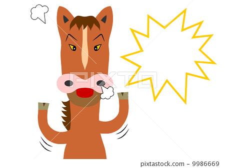 插图素材: 发怒 抗议 马