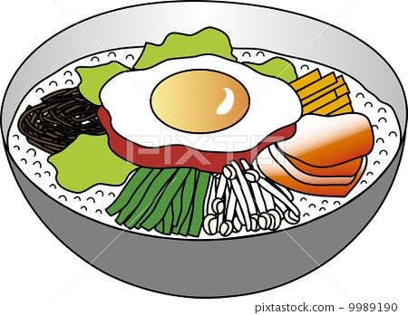 图库插图: 石锅拌饭 说明材料 手绘