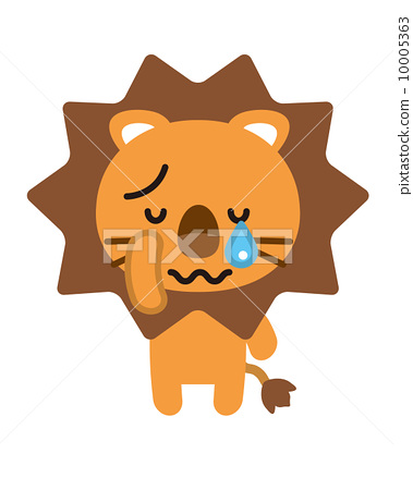 图库插图: 矢量 狮子 哭泣
