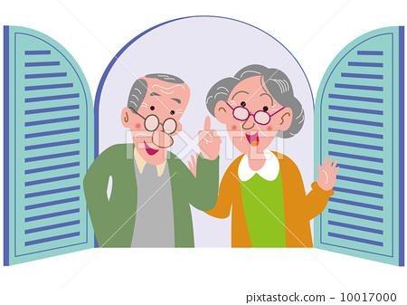图库插图: 矢量 老年夫妇 父母