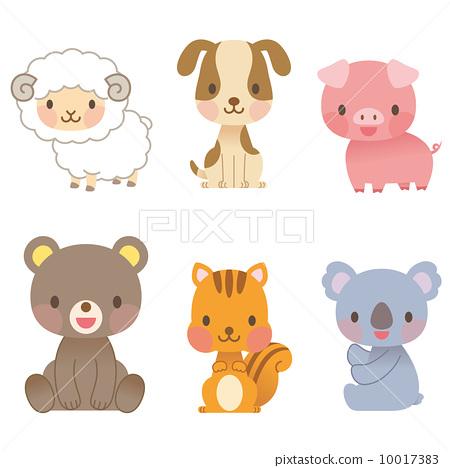 插图: 一套 动物宝宝 动物群