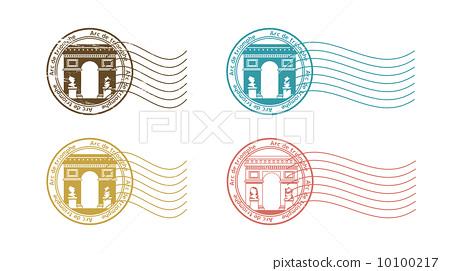 图库插图: 凯旋门 矢量 邮票