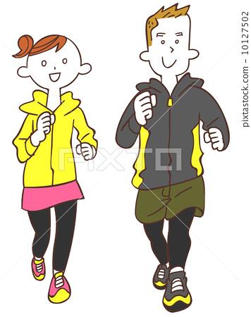 插图 矢量图 人员 慢跑 人类