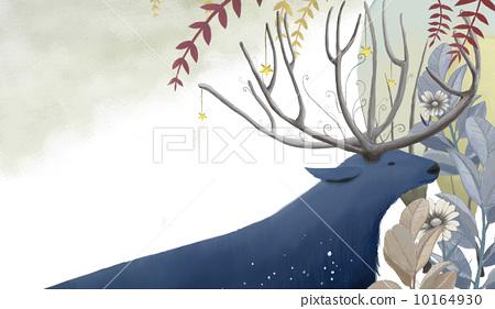 树叶 树鹿