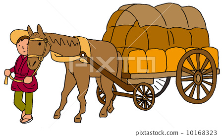 马车油画矢量图
