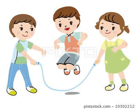 图库插图: 跳绳 矢量 小朋友
