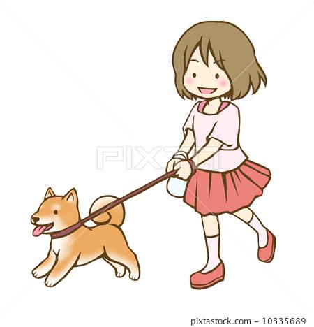 小朋友遛狗手绘画简单