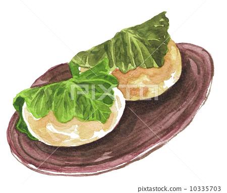 水彩画 柏市麻薯(包裹在橡树叶子里的年糕) 快乐的
