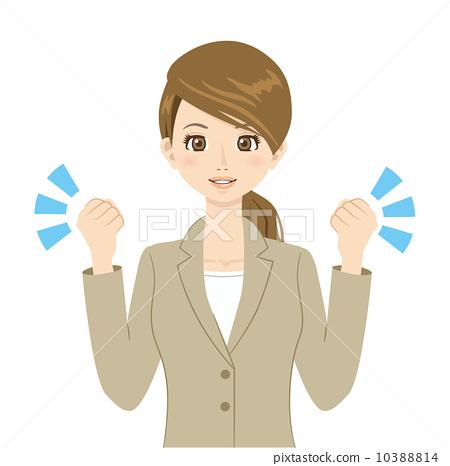 图库插图: 勇敢 女人 握拳