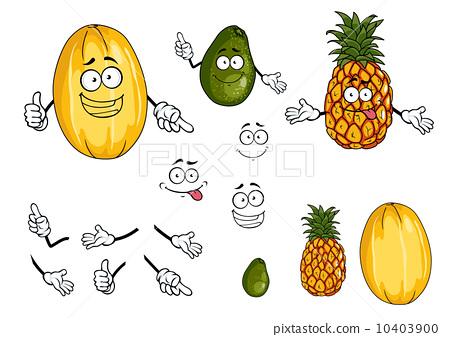 图库插图: pineapple, lime and melon fruits
