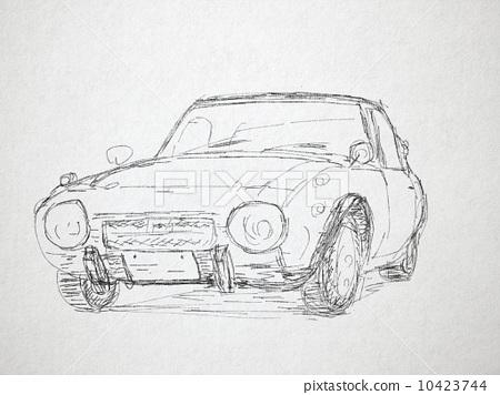 汽车 钢笔画 插图