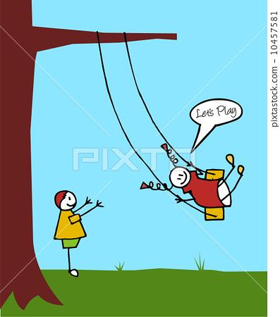 图库插图: kids swinging in the garden
