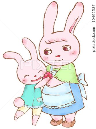 父母和小孩 野兔 兔子