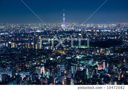 夜景 东京晴空塔 东京-图库照片