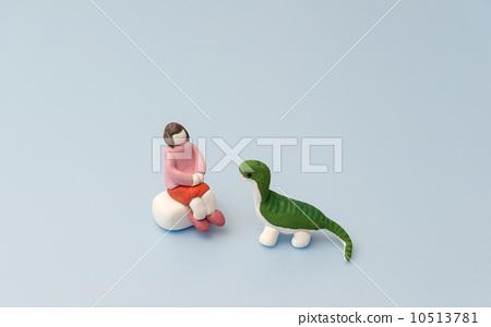 图库照片: 粘土 女孩 恐龙