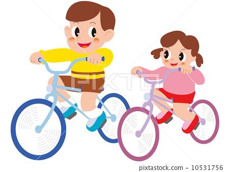 图库插图: 骑自行车 矢量 儿童