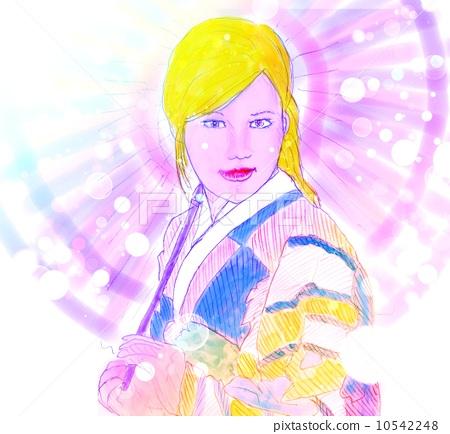 日式服装 水彩画 美女