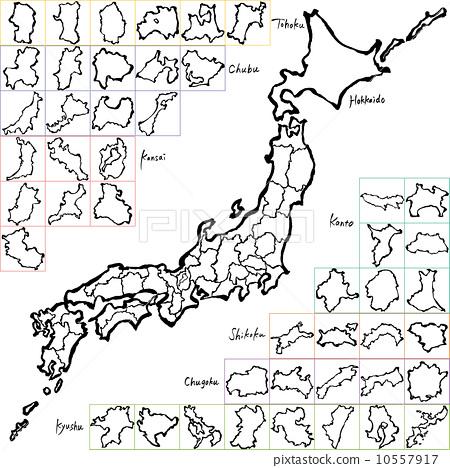 毛笔 都道府县 日本地图