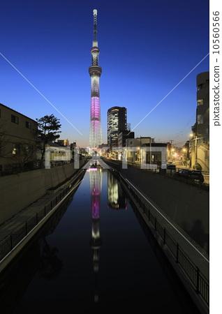 夜景 无线电塔 天线杆