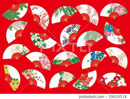 剪纸折扇矢量图