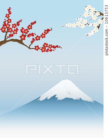 图库插图: 梅 富士山 新年