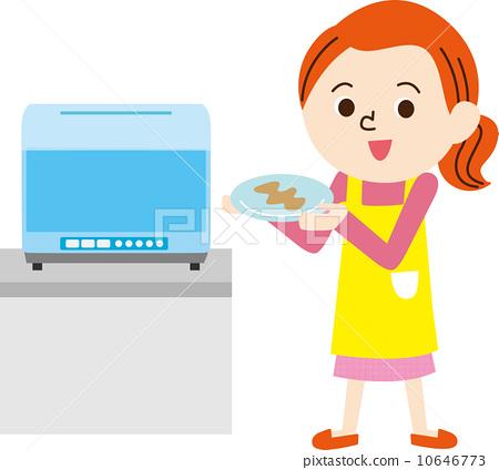 洗碗 首页 插图 人物 女性 主妇 主妇 家庭主妇 洗碗  *pixta限定素材