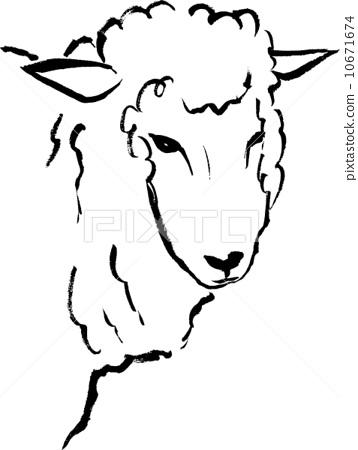 图库插图: 矢量 毛笔 绵羊