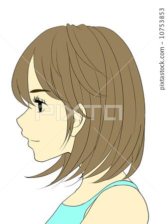 外形 齐肩的长发 侧面图