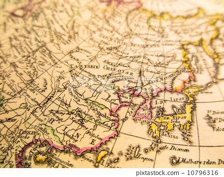 世界地图 古董地图 远东