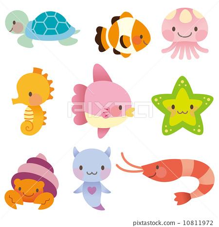 海 海の仲間 セット 10811972 : イラスト 無料 魚 : イラスト