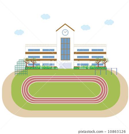 图库插图: 学校建筑 矢量 校园