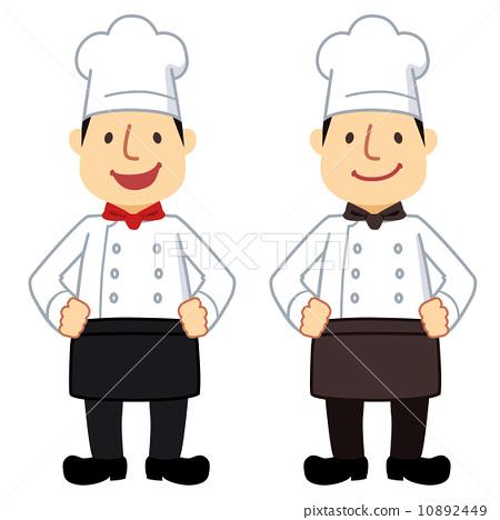插图素材: 厨师男士公鸡外套白/黑