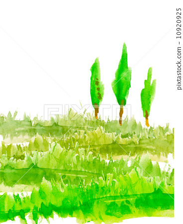 数目 木头 水彩画