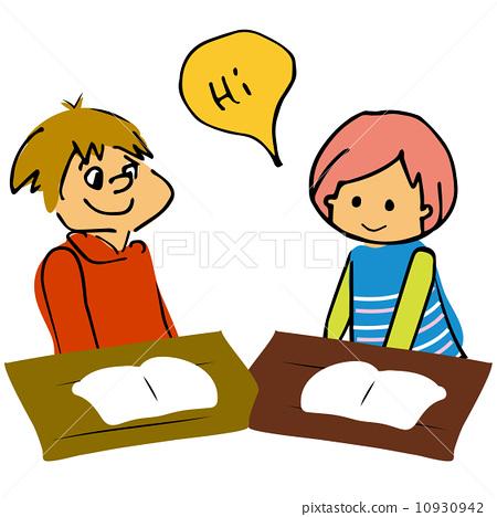 首页 插图 人物 学生 小学生 同学 英语对话 语言学  *pixta限定素材